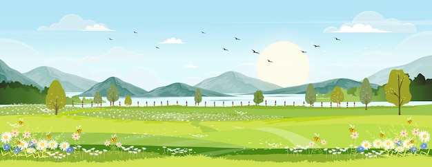 Lente landschap met boerderij veld, wilde bloemen, blauwe lucht met de zon. Premium Vector