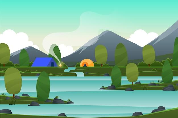 Lente landschap met meer en kampeertenten Gratis Vector