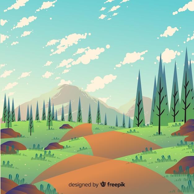 Lente landschap Gratis Vector