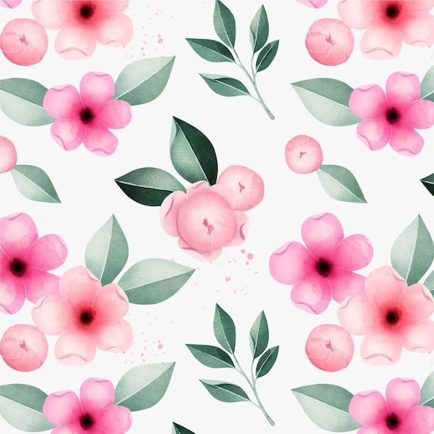 Lente mooie roze bloemen aquarel bloemmotief Gratis Vector