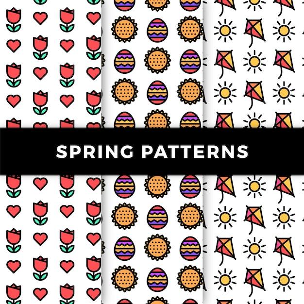 Lente patroon collectie met bloemen en vliegers Gratis Vector