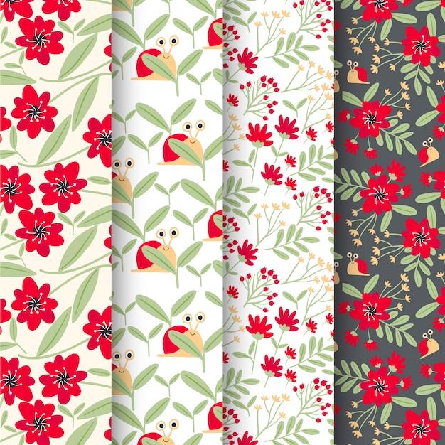 Lente patroon collectie met bloemen Gratis Vector
