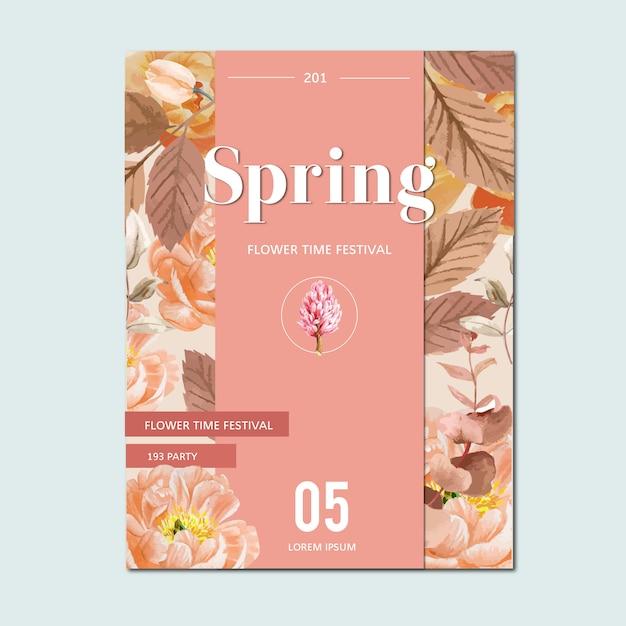 Lente poster verse bloemen, decor kaart met bloemen kleurrijke tuin, bruiloft, uitnodiging Gratis Vector