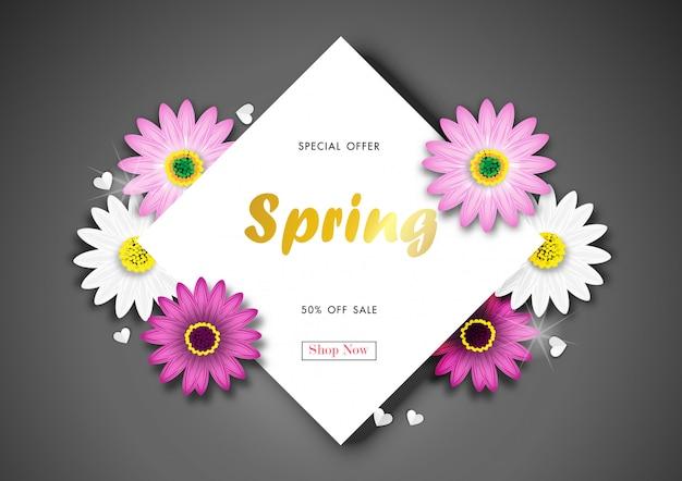 Lente sale off achtergrond met kleurrijke daisy flower blossom ontwerp vector Premium Vector