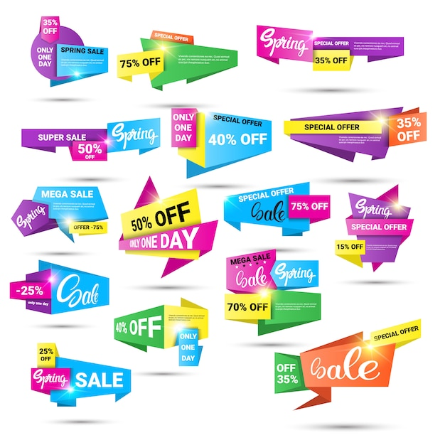 Lente sale winkelen speciale aanbieding vakantie banner set Premium Vector