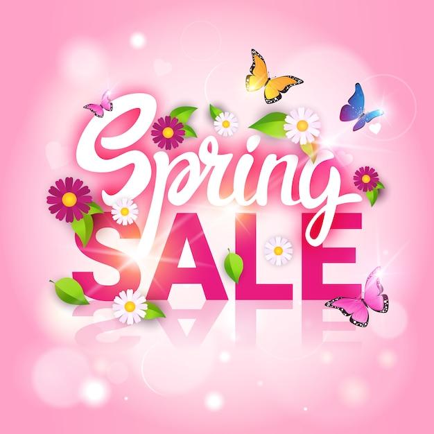 Lente sale winkelen speciale aanbieding vakantie banner Premium Vector