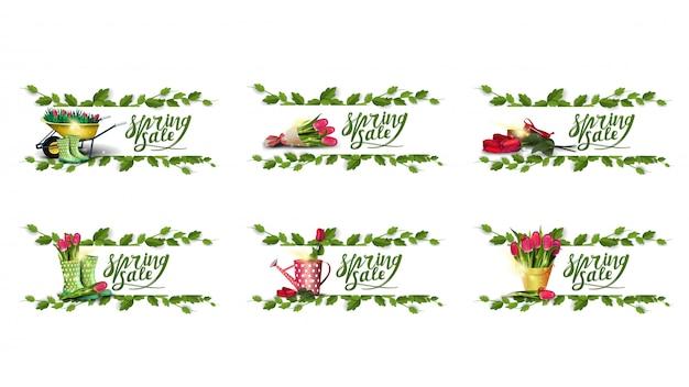 Lente saler, grote collectie korting banners met lente pictogrammen en frame van liaan Premium Vector