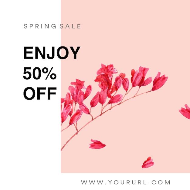 Lente sociale media frame verse bloemen, decor kaart met bloemen kleurrijke tuin, bruiloft, uitnodiging Gratis Vector