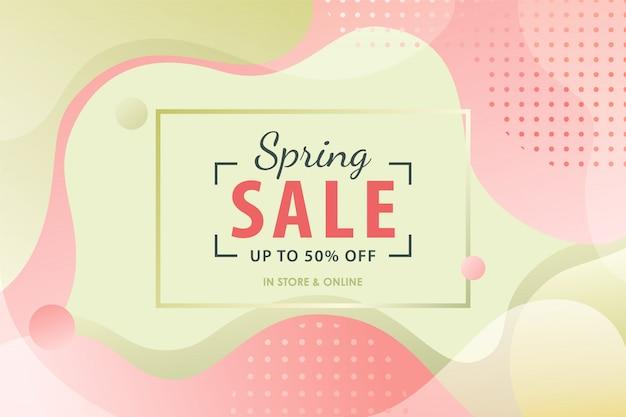 Lente verkoop achtergrond met roze en groene vloeiende vormen. Premium Vector