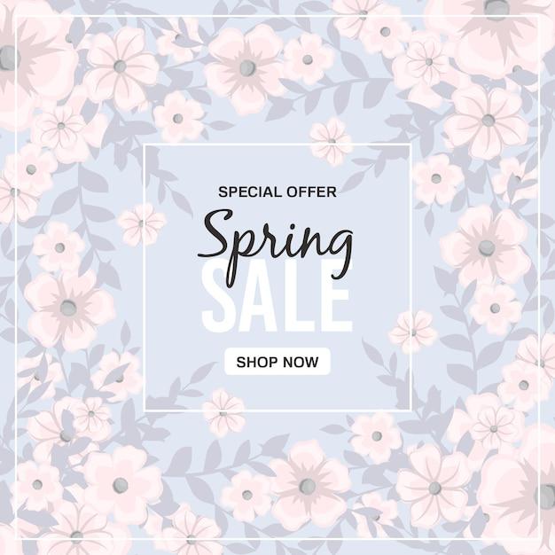 Lente verkoop banner met prachtige kleurrijke bloem. Gratis Vector