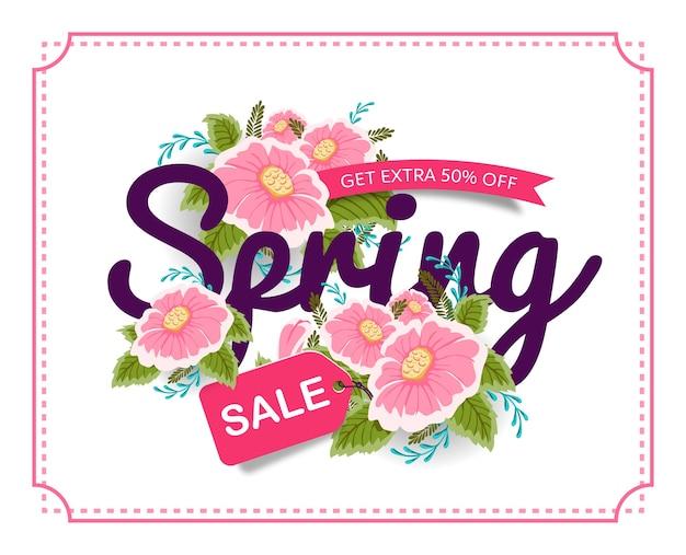 Lente verkoop banner poster tag met kleurrijke bloemen. Premium Vector