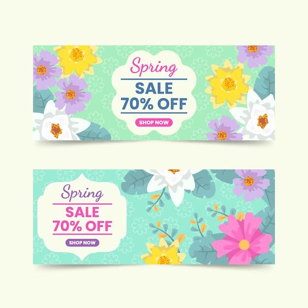 Lente verkoop banners met bloemen Gratis Vector