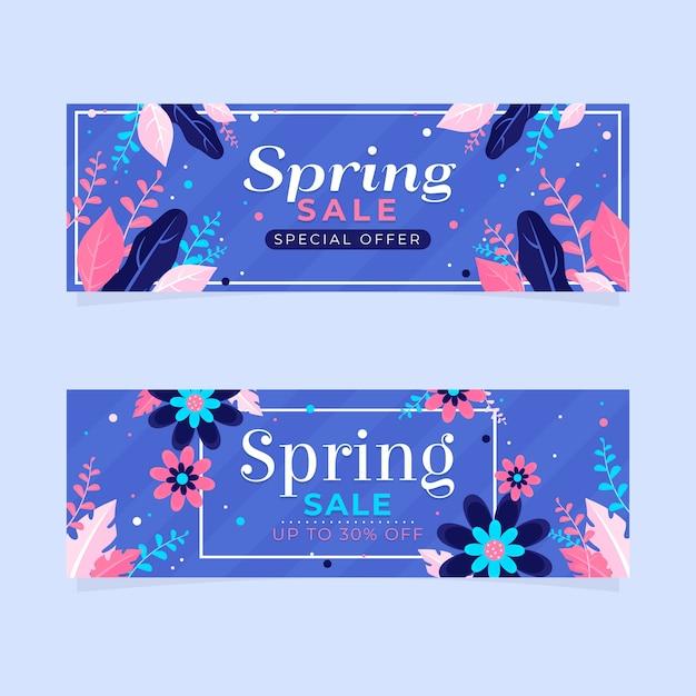 Lente verkoop banners met korting Gratis Vector