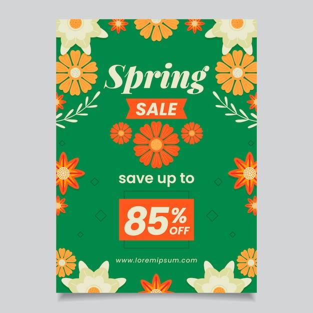 Lente verkoop besparingen folder platte ontwerpsjabloon Gratis Vector