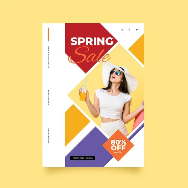 Lente verkoop flyer met foto sjabloon Gratis Vector