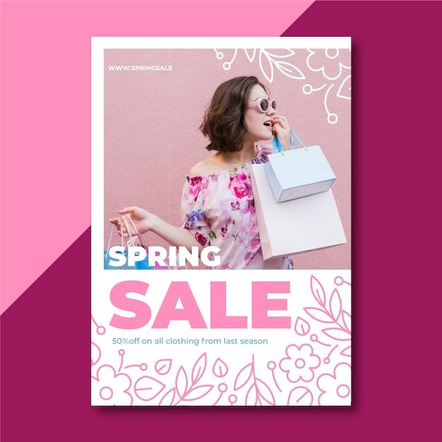 Lente verkoop flyer met foto Gratis Vector