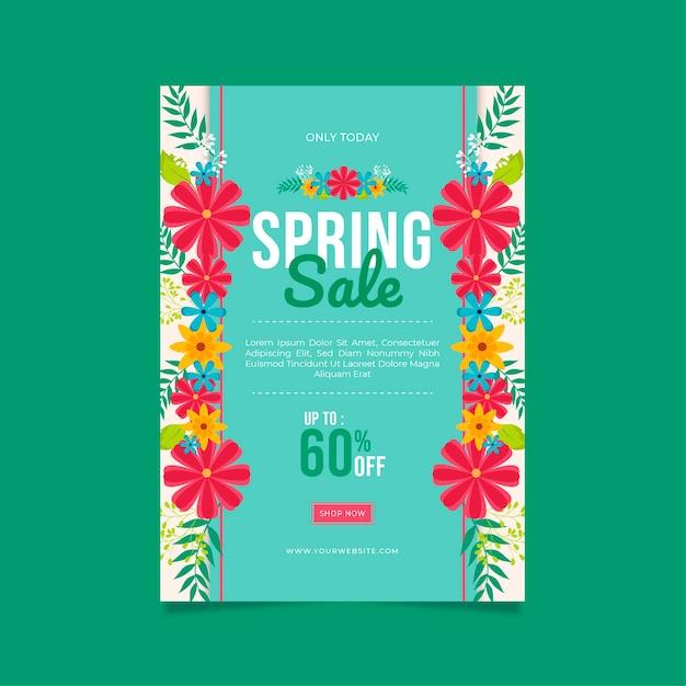 Lente verkoop flyer platte ontwerpsjabloon in levendige kleuren Gratis Vector