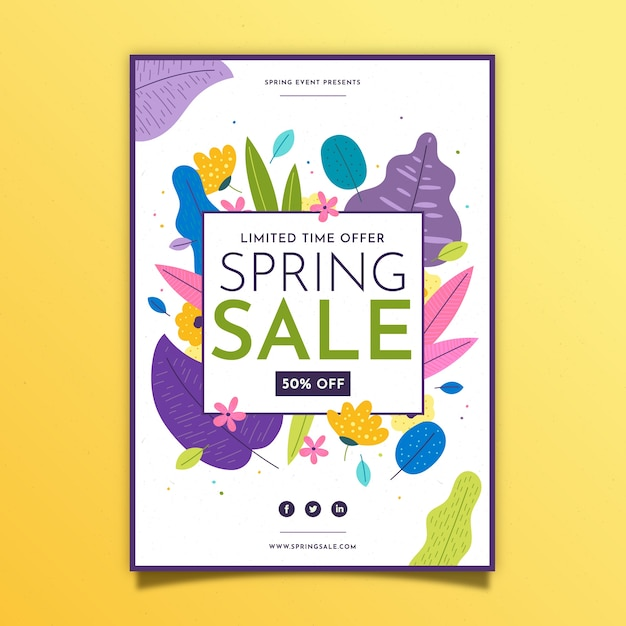 Lente verkoop flyer platte ontwerpsjabloon met kleurrijke bladeren Gratis Vector
