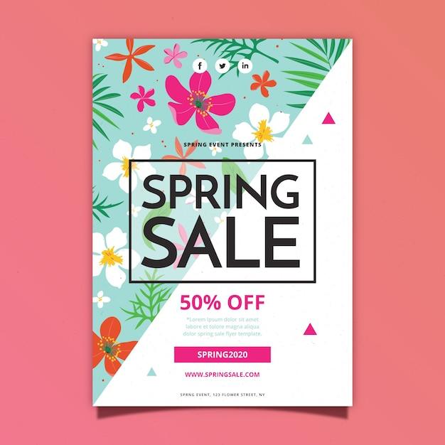 Lente verkoop flyer platte ontwerpsjabloon met tropische bloemen en bladeren Gratis Vector