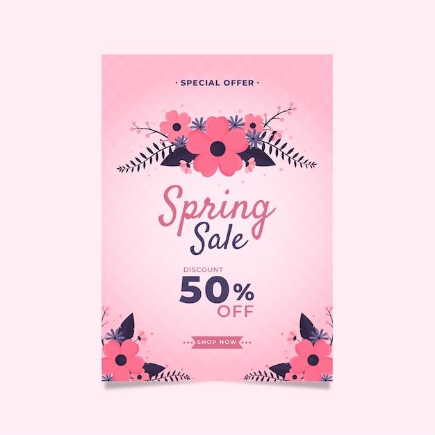 Lente verkoop folder platte ontwerpsjabloon met roze bloemen Gratis Vector