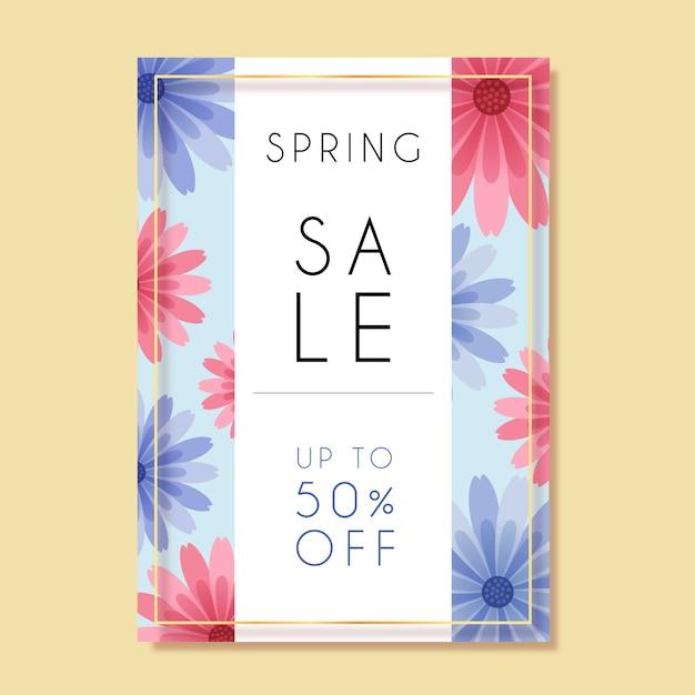 Lente verkoop folder platte ontwerpsjabloon met roze en blauwe bloemen Gratis Vector