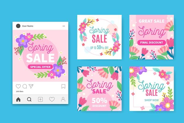 Lente verkoop instagram berichten collectie Gratis Vector
