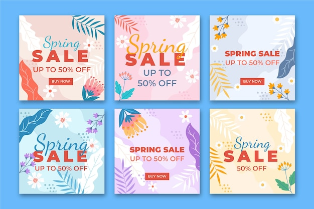 Lente verkoop instagram post collectie concept Gratis Vector
