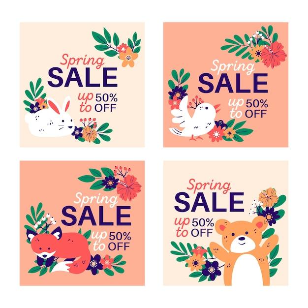 Lente verkoop instagram post collectie Gratis Vector