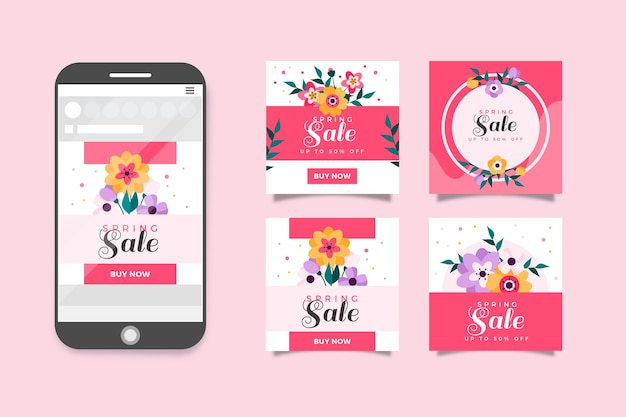 Lente verkoop instagram post collectie Gratis Vector