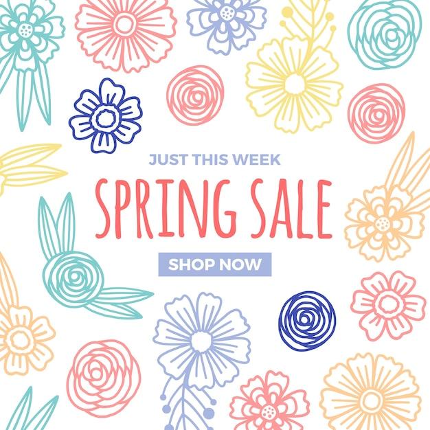 Lente verkoop ontwerp met kleurrijke bloemen Gratis Vector