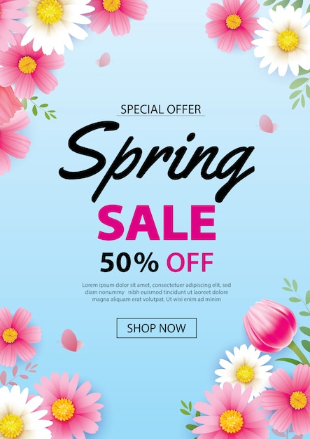 Lente verkoop poster banner met bloeiende bloemen achtergrond Premium Vector