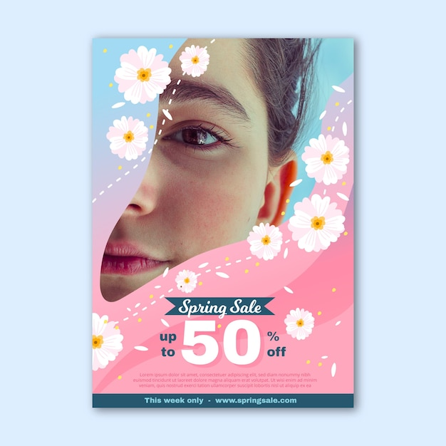Lente verkoop sjabloon folder met foto Gratis Vector