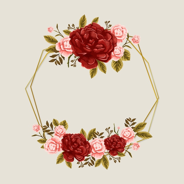Lentetijdkader met roze rozen en rode bloemen Gratis Vector