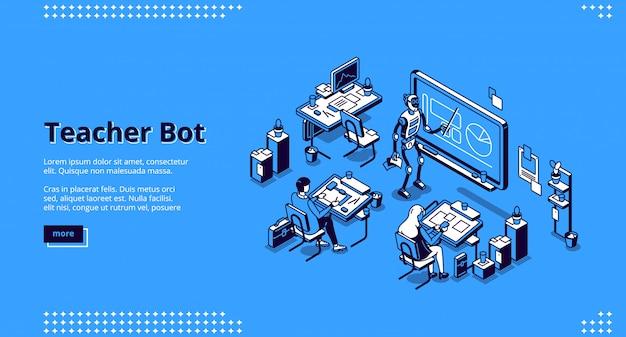 Leraar bot isometrische bestemmingspagina. cyborg tutor Gratis Vector