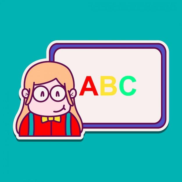 Leraar cartoon doodle kawaii sticker illustratie Premium Vector