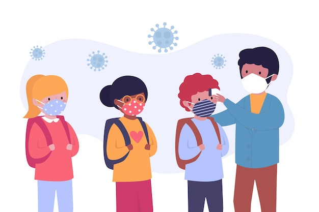 Leraar die de temperatuur van kinderen controleert Gratis Vector