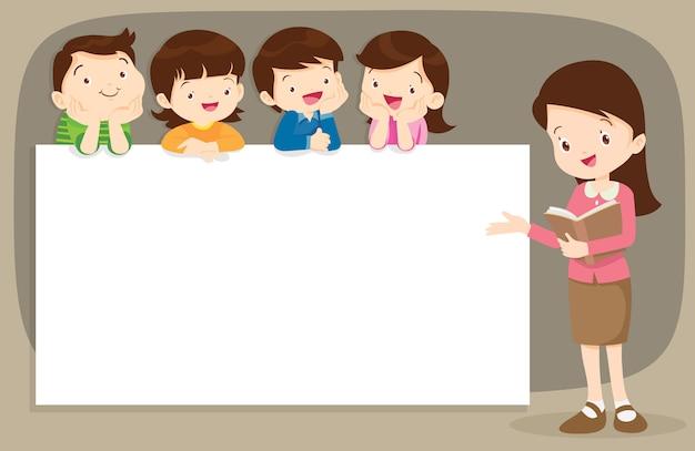 Leraar en kinderen boyand meisje met banner Premium Vector