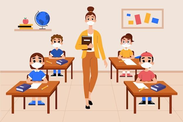 Leraar en studenten die gezichtsmasker dragen in de klas Gratis Vector