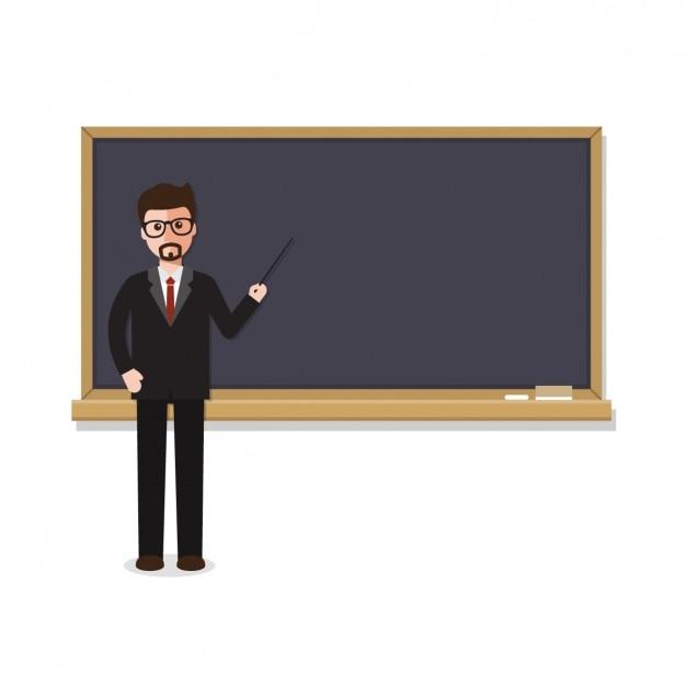 Leraar met een schoolbord ontwerp Gratis Vector