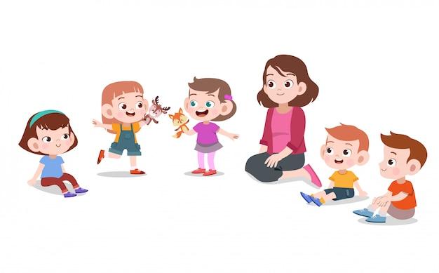 Leraar met school voor kinderen Premium Vector