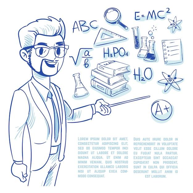 Leraar op de schoolbord en onderwijs doodle pictogrammen Premium Vector