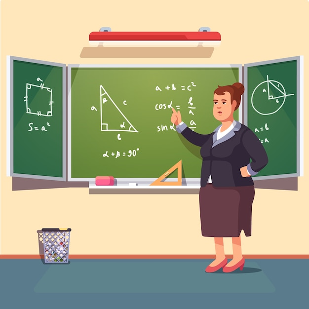 Leraar vrouw die een trigonometrie lezing geeft Gratis Vector