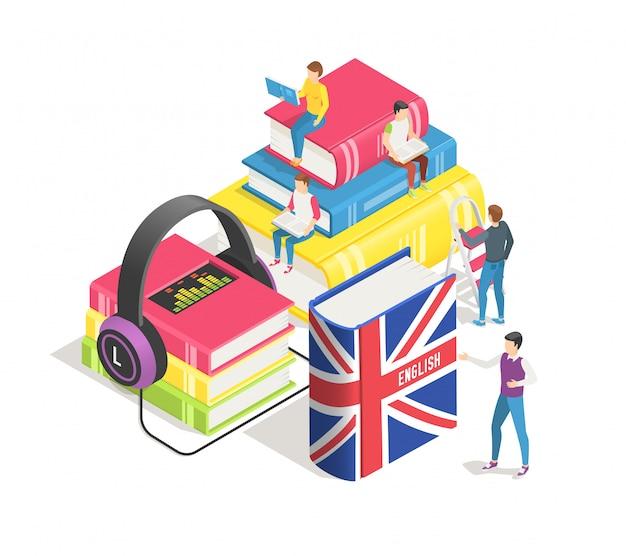 Leren van vreemde talen concept. kleine mensen met engels woordenboek en boeken Premium Vector