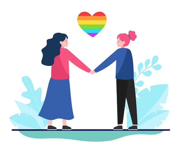Lesbisch koppel met regenbooghart Gratis Vector