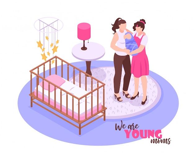 Lesbisch paar en hun kind die zich in kinderdagverblijfruimte bevinden op witte 3d isometrisch Gratis Vector