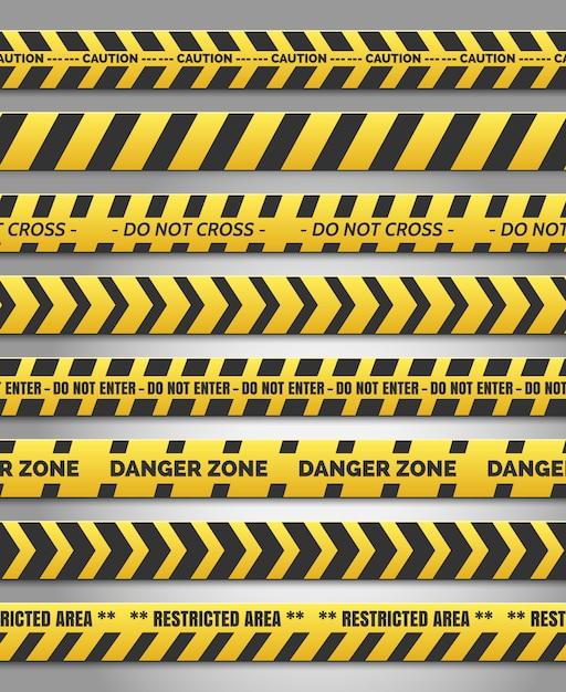 Let op geel tape set Premium Vector