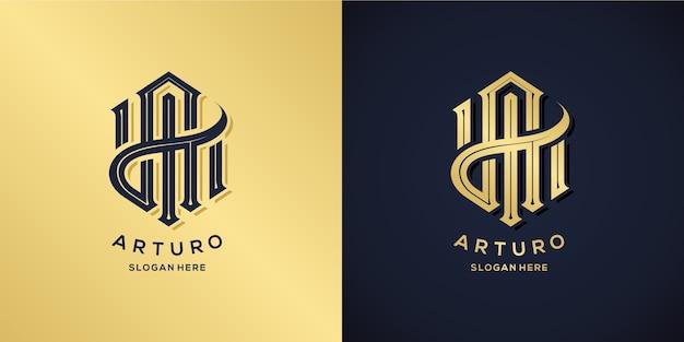 Letter a logo decoratieve stijl Premium Vector