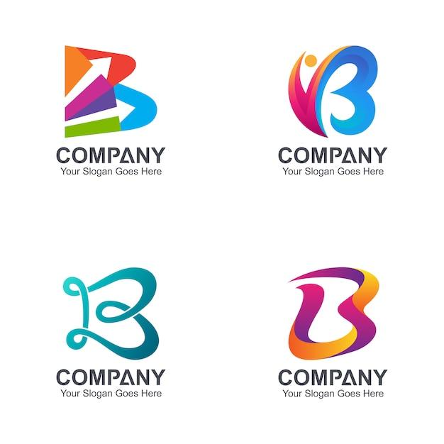 Letter b logo verzameling Premium Vector