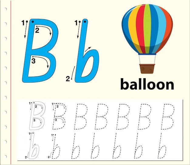 Letter b tracering alfabet werkbladen Premium Vector