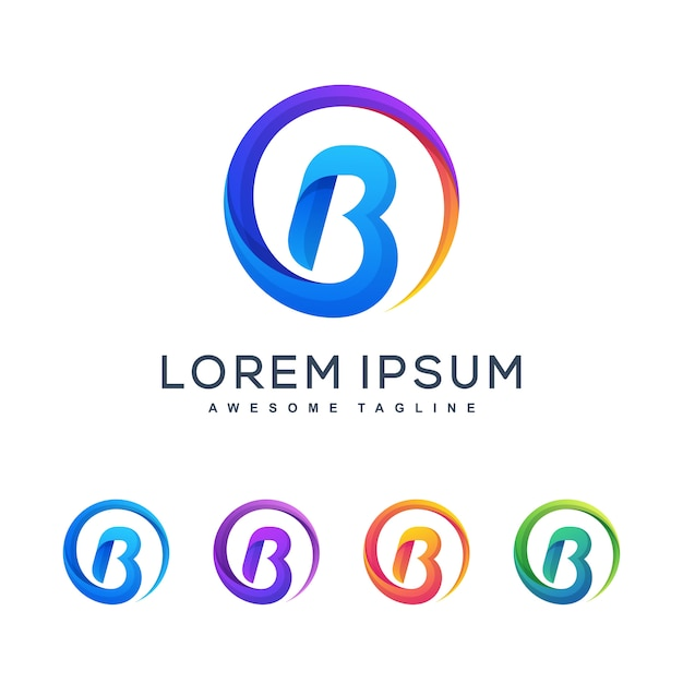 Letter b veelkleurige concept illustratie vector ontwerpsjabloon Premium Vector